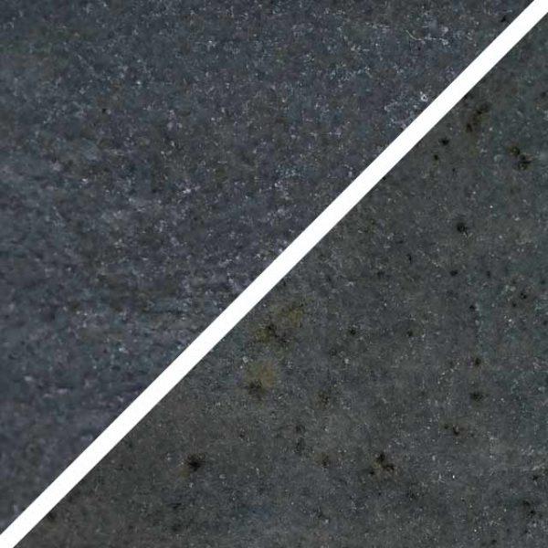 Auster graue Glasur ohne und mit Spots, die wie Sommersprossen durch die Glasur schimmern