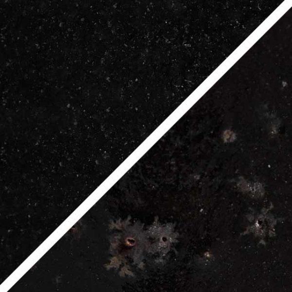 Lakritzfarbene schwarze Glasur ohne und mit Spots, die wie Sommersprossen durch die Glasur schimmern